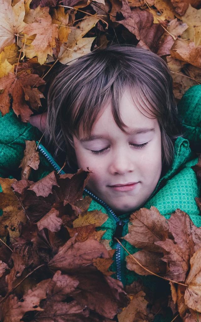 Enfant dormant dans les feuilles